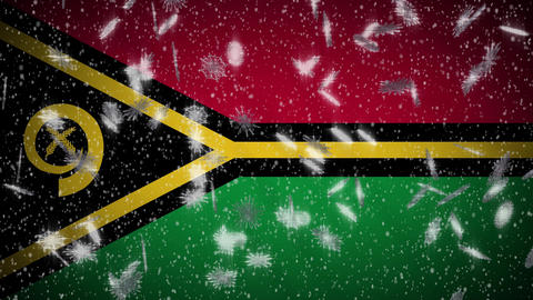 Vanuatu flag falling snow loopable, New Year and Christmas background, loop Animation