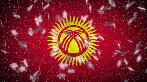 Kyrgyzstan flag falling snow loopable, New Year and Christmas background, loop Animation
