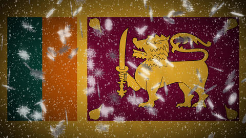 Sri Lanka flag falling snow loopable, New Year and Christmas background, loop Animation