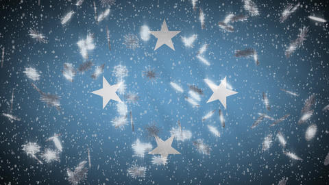 Micronesia flag falling snow loopable, New Year and Christmas background, loop Animation