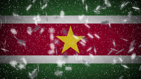 Suriname flag falling snow loopable, New Year and Christmas background, loop Animation