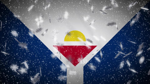 Saint Martin flag falling snow loopable, New Year and Christmas background, loop Animation