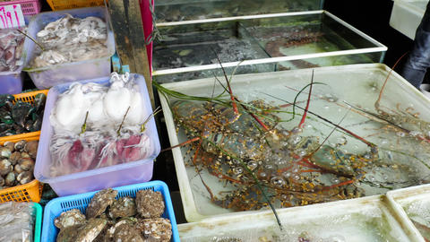 Thailand fresh seafood on street market Live Action