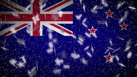 New Zealand flag falling snow loopable, New Year and Christmas background, loop Animation