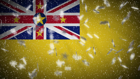 Niue flag falling snow loopable, New Year and Christmas background, loop Animation
