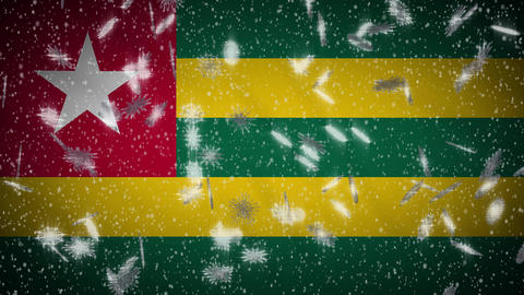 Togo flag falling snow loopable, New Year and Christmas background, loop Animation