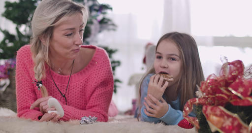 Positive Caucasian mother and daughter laughing out loud… Stock Video Footage