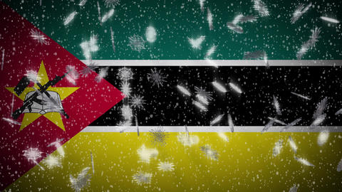 Mozambique flag falling snow loopable, New Year and Christmas background, loop Animation