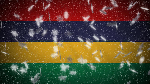 Mauritius flag falling snow loopable, New Year and Christmas background, loop Animation