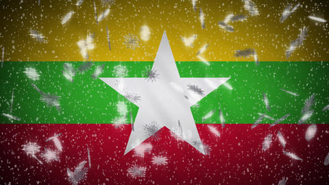 Myanmar flag falling snow loopable, New Year and Christmas background, loop Animation