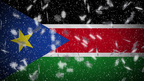 South Sudan flag falling snow loopable, New Year and Christmas background, loop Animation