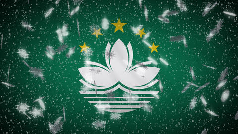 Macau flag falling snow loopable, New Year and Christmas background, loop Animation