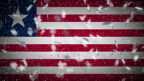 Liberia flag falling snow loopable, New Year and Christmas background, loop Animation