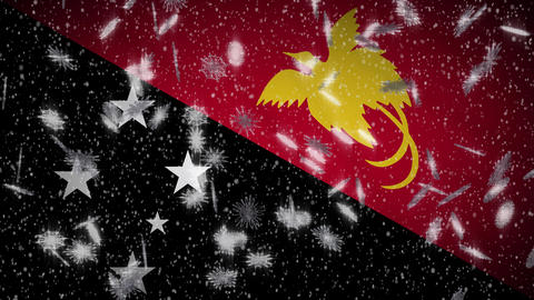 Papua New Guinea flag falling snow loopable, New Year and Christmas background Animation