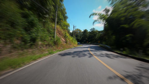 Time-lapse POV journey on the countryside road fast movement speed in the rural place with wood and Live Action