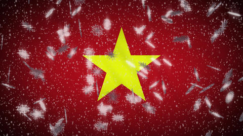 Vietnam flag falling snow loopable, New Year and Christmas background, loop Animation