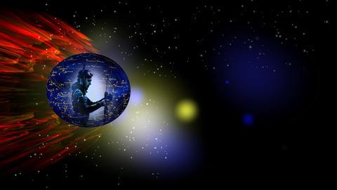 268 3D animated ZODIAC astrology horoscope symbol AQUARIUS Stock Video Footage