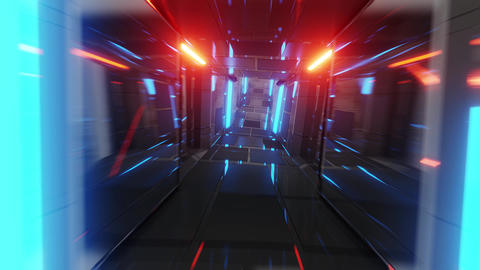 realistic futuristic glass tunnel corridor with glowing lights and brick texture Animation