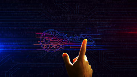 Cyber security with key symbol futuristic enetry into cyberspace animation Animation