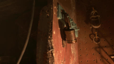 Old rusty padlock lit with lantern - Graded image Stock Video Footage