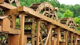 Multiple water wheel (rural landscape and natural energy, hydro) Live Action