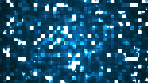 Broadcast Twinkling Firey Light Squares, Blue, Abstract, Loopable, 4K Animation