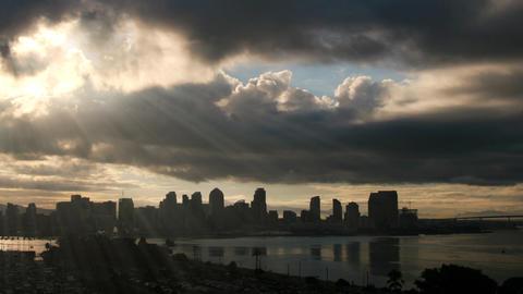San Diego Skyline Sun Rays Time Lapse Footage