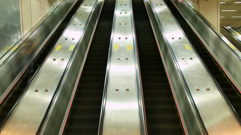 Crowd Riding Escalator Time Lapse Footage