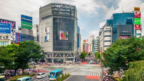 Shibuya Crossing In Tokyo Japan Live Action