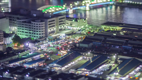 Night Time Lapse Tokyo Japan Tsukiji Footage