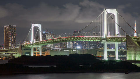 Night Time Lapse Tokyo Rainbow Bridge Footage