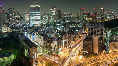 Night Time Lapse Cityscape Tokyo Japan Footage