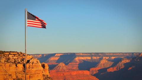 Grand Canyon USA Flag Morning Footage