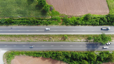 High angle view scenic landscape of highway, Aerial view of the cross road at the countryside, for Acción en vivo