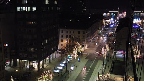 Ljubljana night hyper lapse in Christmas, main street with traffic Live Action
