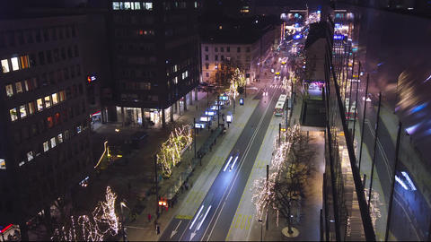 Night hyper lapse of main sttreet in Christmas decoration, Ljubljana, Slovenia Live Action