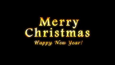 Alpha channel. Congratulatory Christmas video card. Decorative golden title, confetti. Artistic Animation