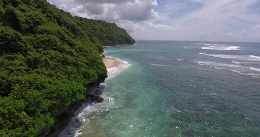 High angle view of the shoreline of Bali island, blue ocean water, tropical, 4k Live Action