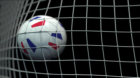 Ball with flags of France hits goal. 3D animation Live Action