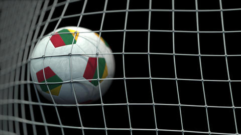 Ball with flags of Lithuania hits goal. 3D animation Live Action