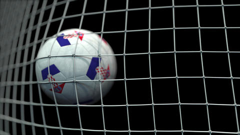 Ball with flags of Croatia hits goal. 3D animation Live Action