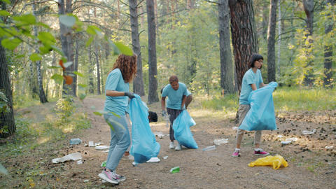 Students girls and guys cleaning forest on Earth day collecting trash in plastic Live Action
