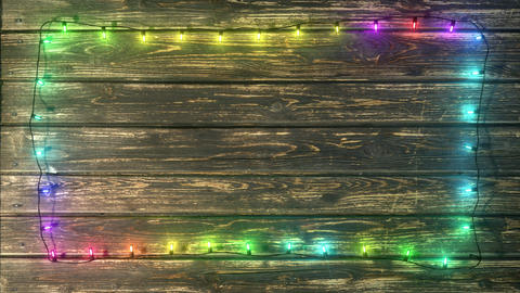 Garland on Wood plank Frame - Colorful Fast Animation