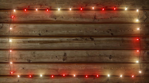 Garland on Wood plank Frame - red and white Animation
