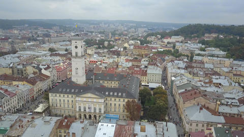 Charming top view of the houses and landmarks of the historical city of Ukraine Live Action