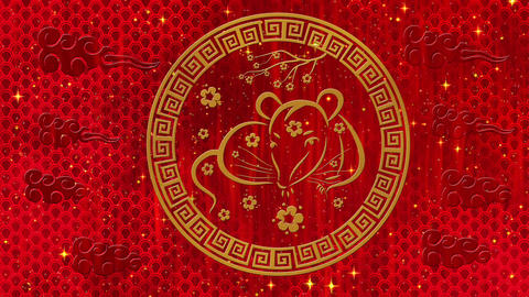 Lunar New Year, Spring Festival red background with rat, fireworks, glittering Animation