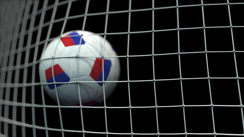 Ball with flags of Russia in goal against black background. Conceptual 3D Live Action