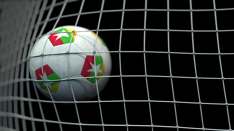 Ball with flags of Myanmar hits goal. 3D animation Live Action