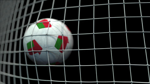 Ball with flags of Oman in goal against black background. Conceptual 3D Live Action