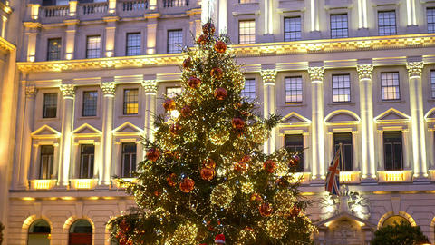 the famous Christmas tree at London Waterloo Place - LONDON, ENGLAND - DECEMBER Live Action